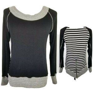 Jude Black Gray Striped Back Top with Tail Zipper